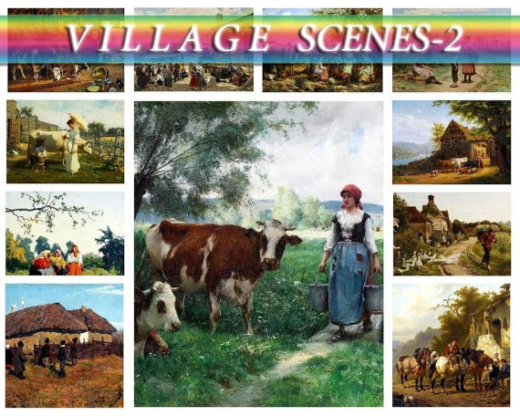 VILLAGE COUNTRY-2 on 225 vintage print