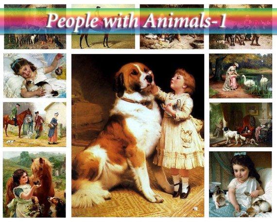 PEOPLE with ANIMALS-1 on 264 vintage print