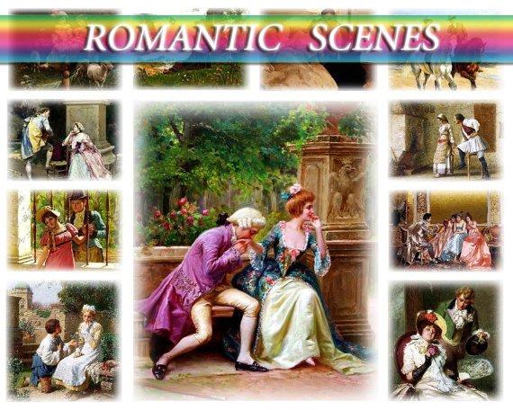 ROMANTIC SCENES on 271 vintage print