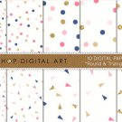 Digital Paper - Round & Triangle Confetti - Blue,Pink ,Gold print Papers