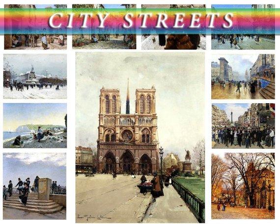 CITY STREETS on 140 vintage print