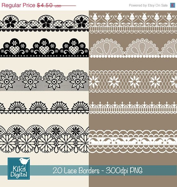 Lace Borders - Digital Clipart / Scrapbooking - card design, invitations