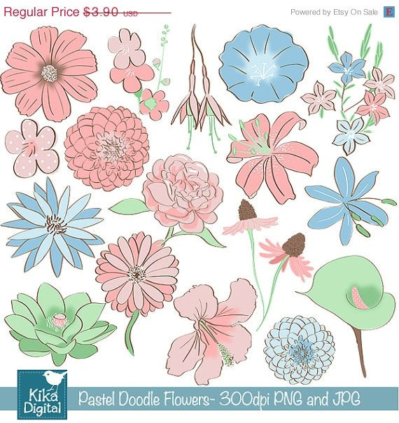 Colored Doodle Flowers Digital Clipart-Scrapbookingcard designweddinghdrawn