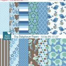 Boy Babyshower Digital Papers-Blue Digital Scrapbooking Papers-card