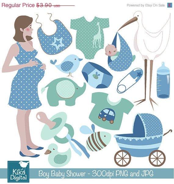 Boy Baby Shower Digital Clipart - Scrapbooking , card design, photo booth