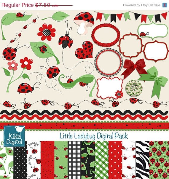 Ladybug Digital Clipart , Paper Pack - Scrapbooking , card design, stickers