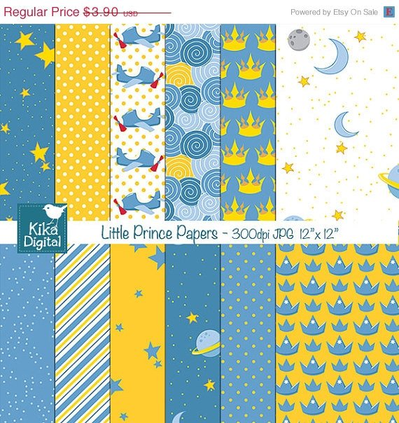 Little Prince Digital Papers - Scrapbooking, card design, stickers, background