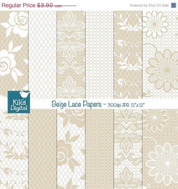 Beige Lace Digital Papers - Digital Scrapbook Papers - card design, background