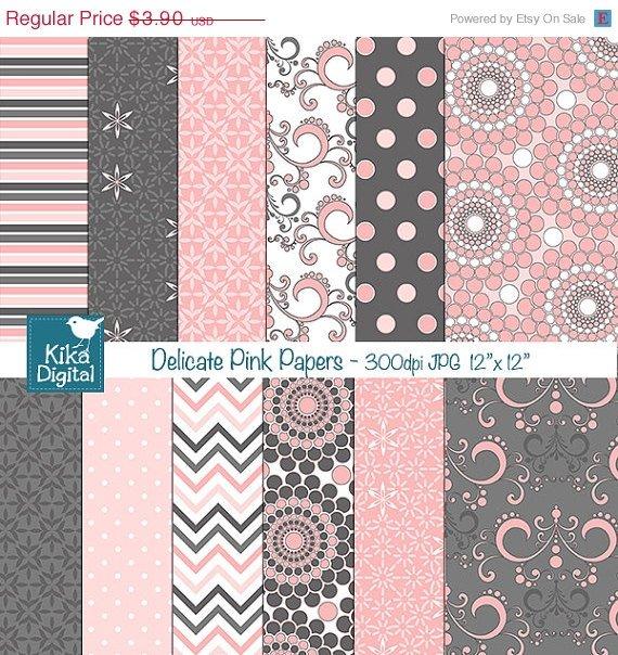 Pink an Grey Digital Papers - Delicate Pink Scrapbook, card design, background