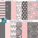 Pink an Grey Digital Papers - Delicate Pink Scrapbook, card design, background