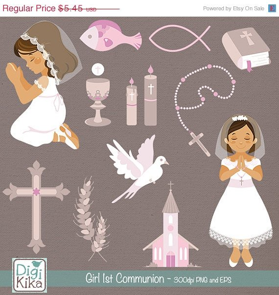 Girl First Communion Clip Art - Communion Clipart, Catholic Vector Graphic
