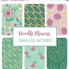 Doodle Flers Seamless Pattern-Floral Tileable Paper-Fabric PrintWrapping Papers