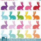 Polka Dot Bunnies Digital Clipart - Scrapbooking , card design, stickers