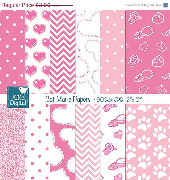 Cat Marie Inspired Digital Papers, Pink papers, Pink Papers-card design