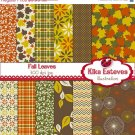 F Digital Papers - Digital Scrapbooking brown, Grn,Org Papers - card design