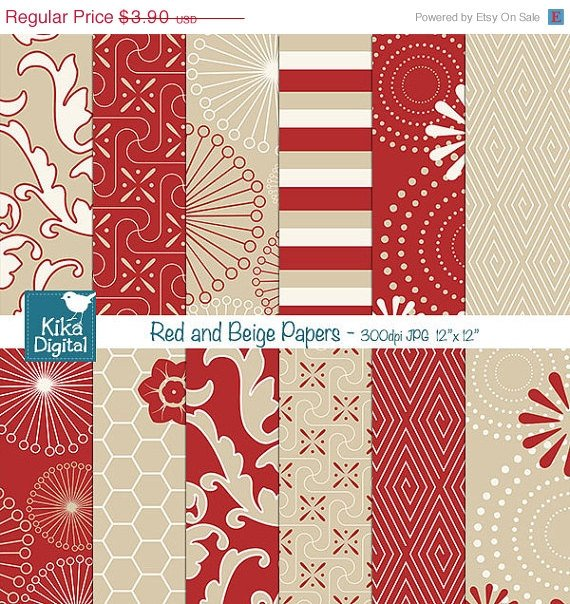 Red Beige Digital Papers, Red Tan Scrapbooking Papers - card design, background