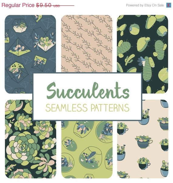 Succulent Seamless Pattern-Succulents Cactus Tillable Paper-Fabric  Papers