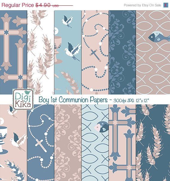 Boy First Communion Digital Papers-Tileable / Seamless Pattern-website