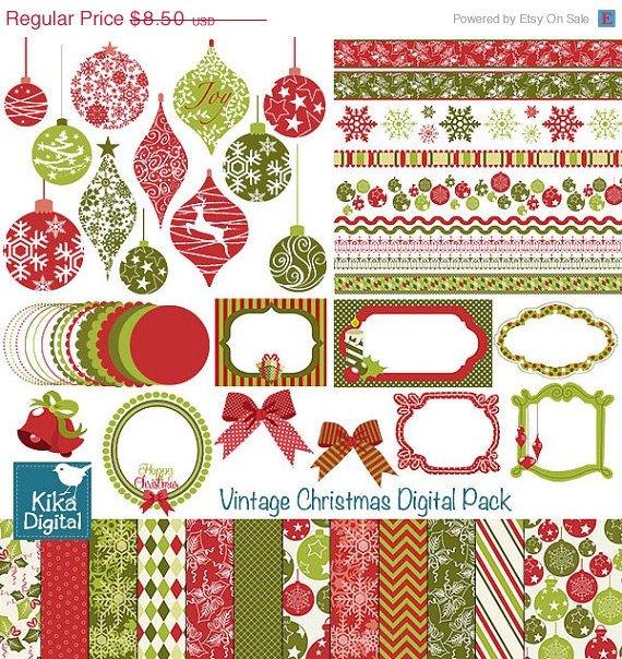 Christmas Digital Clipart , Paper Bundle - Scrapbook , card design, invitations