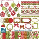 Christmas Digital Clipart , Paper Bundle - Scrapbook , card design, invitations
