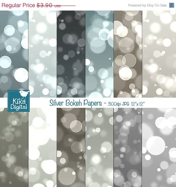 Gold Bokeh Digital Papers, Bokeh Scrapbook Papers - card design, background