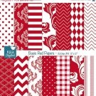 Basic Red Digital Papers - Scrapbooking Papers - card design, background