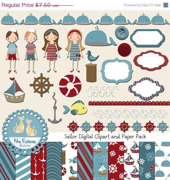 Sailor Digital Clipart , Paper Bundle - Scrapbooking , card design, invitations