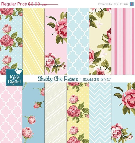 Shabby Chic Digital Papers - Scrapbooking, card design, stickers, background
