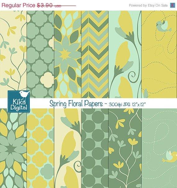 Spring Floral Digital Papers - Grn Floral Paper Pack - Scrapbooking, card design