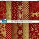 Gold , Red Christmas Digital Papers - Textured Scrapbooking Papers - card design