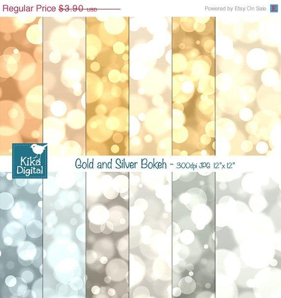 Gold , Silver Bokeh Digital Papers, Bokeh Scrapbook Papers - card design