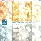 Gold , Silver Bokeh Digital Papers, Bokeh Scrapbook Papers - card design