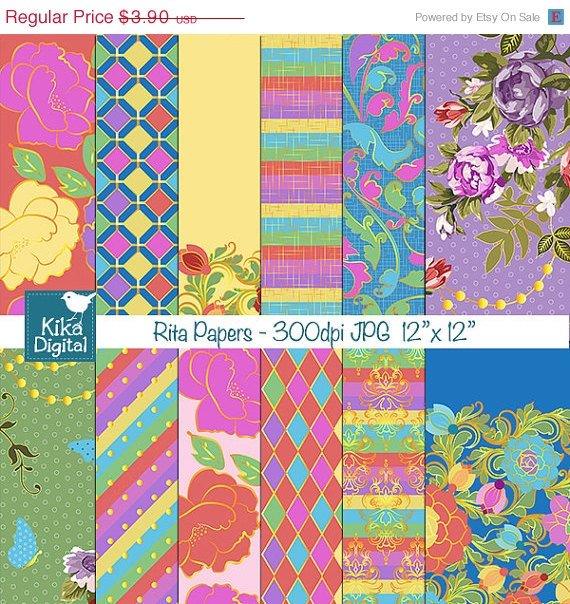 Bright Flowers Digital Papers - Digital Scrapbook - card design, background
