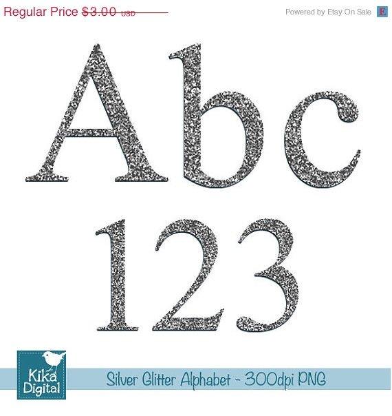 Silver Glitter Alphabet - Digital Clipart / Scrapbooking colorful - card design