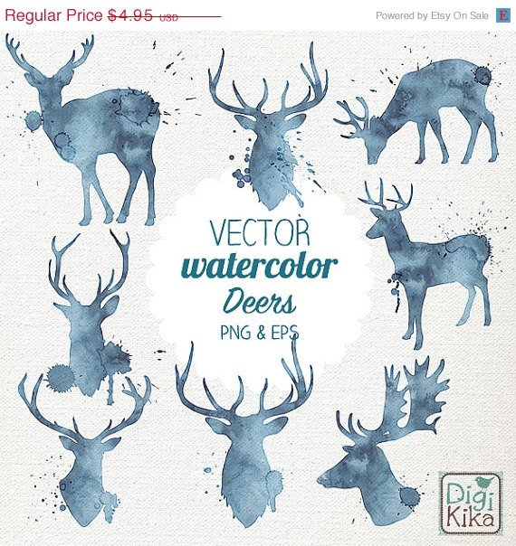 VECTOR Watercolor Deer Clip Art-HPainted DeerVector Deer Clipart SetWatercolor Deer Png