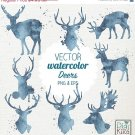 VECTOR Watercolor Deer Clip Art-HPainted DeerVector Deer Clipart SetWatercolor Deer Png
