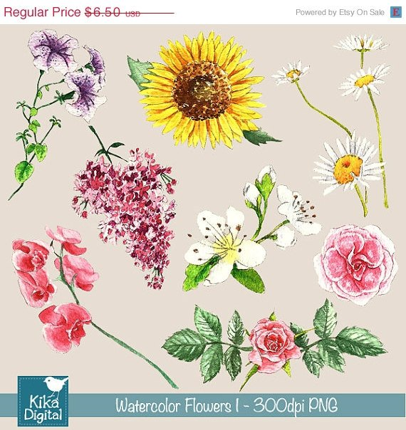 H, Painted Watercolor Flowers I Clipart - card design, watercolor, h, drawn