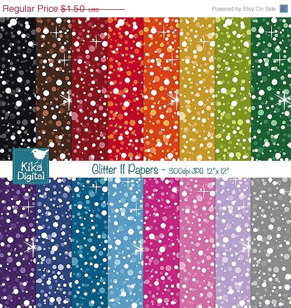 Glitter II Digital Papers-Colorful Digital Scrapbookig Papers-card