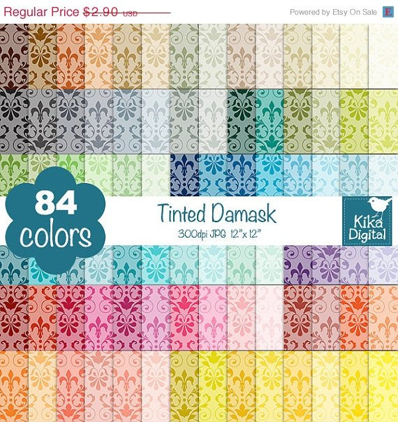 Tinted Damask Digital Papers-Rainbow Damask Papers-Damask papers-Huge Paper Pack