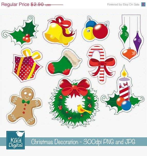 Christmas Decoration - Digital Clipart / Scrapbook - card design, stickers