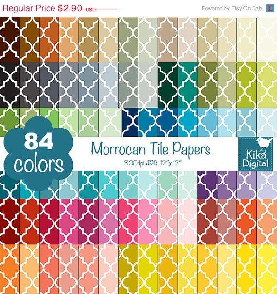 Quatrefoil Digital Papers-Rainbow Moroccan Tile Papers-Mosaic Tile papers-Huge Paper