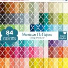 Quatrefoil Digital Papers-Rainbow Moroccan Tile Papers-Mosaic Tile papers-Huge Paper