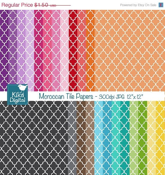 Colorful Moroccan Tile Digital Papers-Colorful Digital papers-card design
