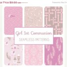 Girl First Communion Seamless Pattern-Communion Tillable Background-Fabric Papers