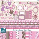 Girl Baby Shower Digital Clipart , Paper COMBO - Scrapbooking , card design