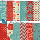 Happy Ending Digital PapersRed Aqua Papers-scrapbookingcard designbackgroundOA