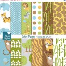 Safari Digital Papers - Digital Scrapbooking Papers - card design, background