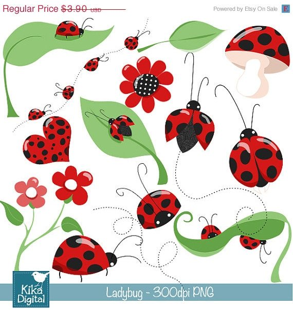 Little Ladybug Digital Clipart - Scrapbooking , card design, stickers