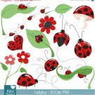 Little Ladybug Digital Clipart - Scrapbooking , card design, stickers