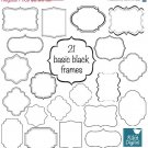 22 Simple Black Frames - Digital Clipart / Scrapbooking card design, invitations